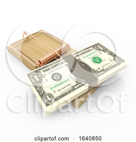 3d US Dollars in a Mouse Trap by Steve Young