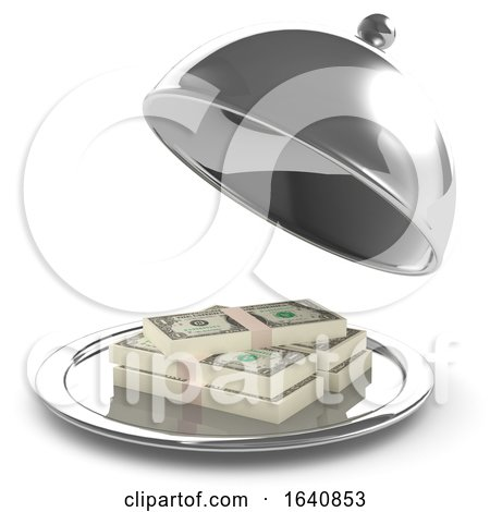 3d Silver Service Tray Containing US Dollars by Steve Young