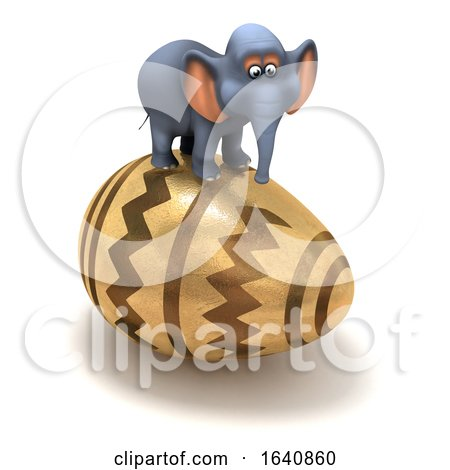 Funny Cartoon 3d Elephant Balanced on an Easter Egg by Steve Young