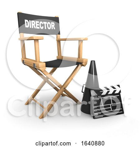 3d Directors Chair with Clapperboard and Bullhorn on White by Steve Young