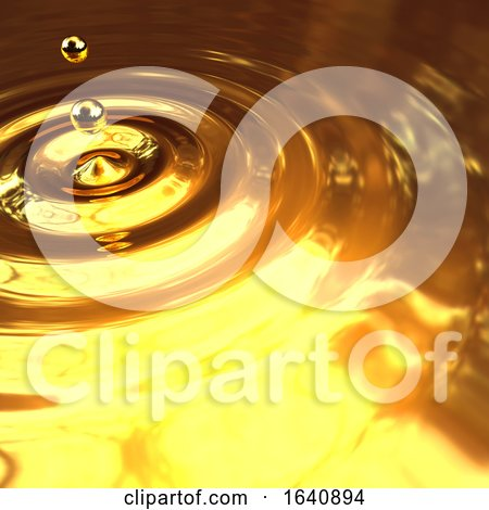3d Gold Droplet and Ripples by Steve Young