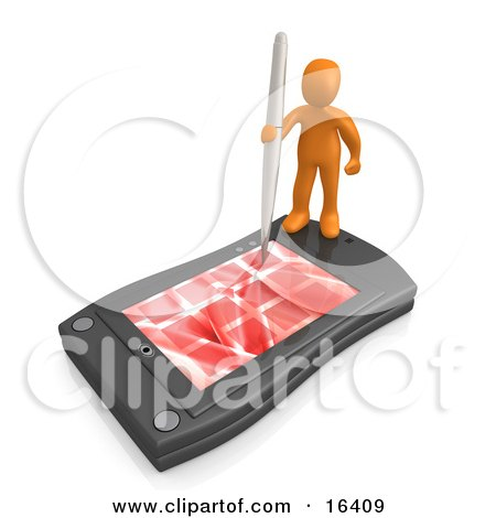 Orange Person Holding A Pen And Scheduling An Appointment On His Black Palm Pilot While Standing On It  Posters, Art Prints