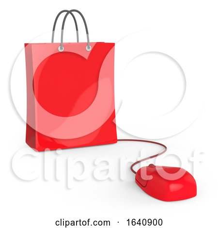 3d Computer Mouse Connected to Shopping Bag by Steve Young
