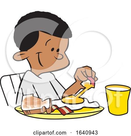 Happy Black Boy Eating Breakfast by Johnny Sajem