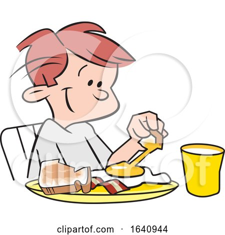 Happy White Boy Eating Breakfast by Johnny Sajem