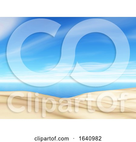3D Summer Landscape with Sand and Sea by KJ Pargeter