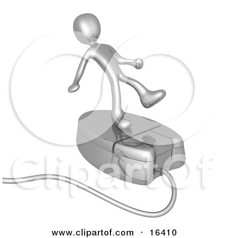 Silver Person Trying To Maintain His Balance While Riding On A Chrome Computer Mouse And Surfing The Internet Clipart Illustration Graphic by 3poD
