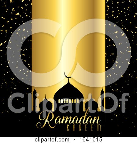 Ramadan Kareem Background with Mosque Silhouette on Confetti Design by KJ Pargeter