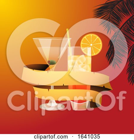 Summer Background with Cocktails and Banner by elaineitalia