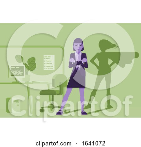 Business Woman Super Hero Shadow Office Mascot by AtStockIllustration