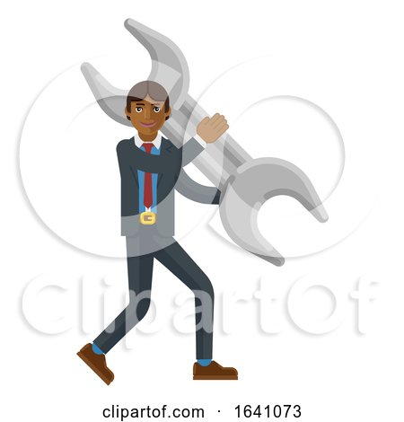 Asian Business Man Holding Spanner Wrench Concept by AtStockIllustration