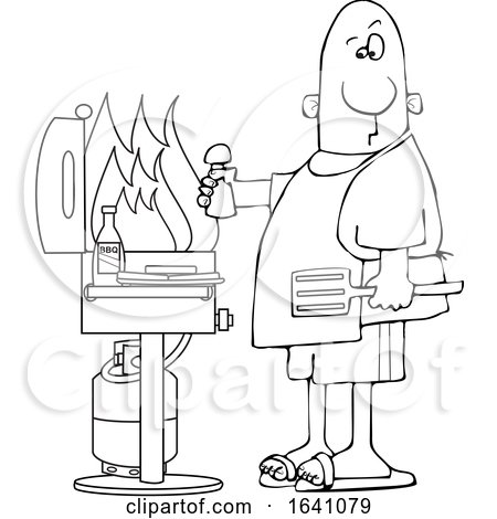 Cartoon Black and White Man Holding a Salt Shaker and Watching As the Flames Get High on His Bbq Grill by djart