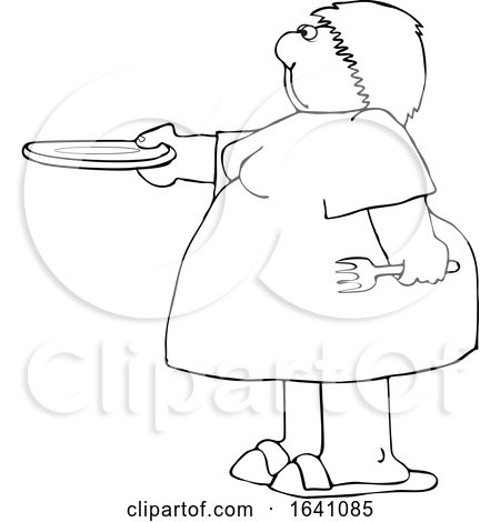 Cartoon Black and White Chubby Woman Holding out a Plate for Seconds by djart