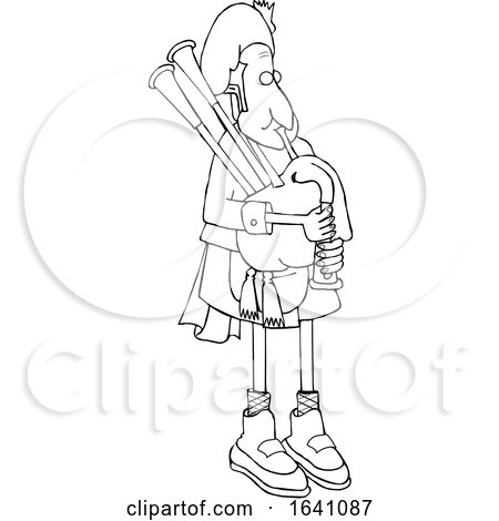 Cartoon Black and White Bagpiper in Uniform by djart