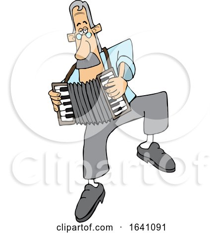 Cartoon White Man Dancing and Playing an Accordion by djart