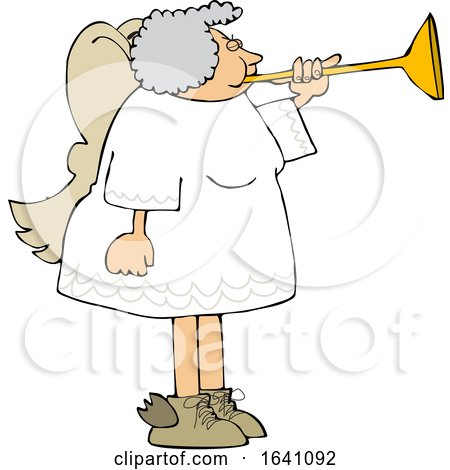 Cartoon Chubby Female Angel Playing a Horn by djart