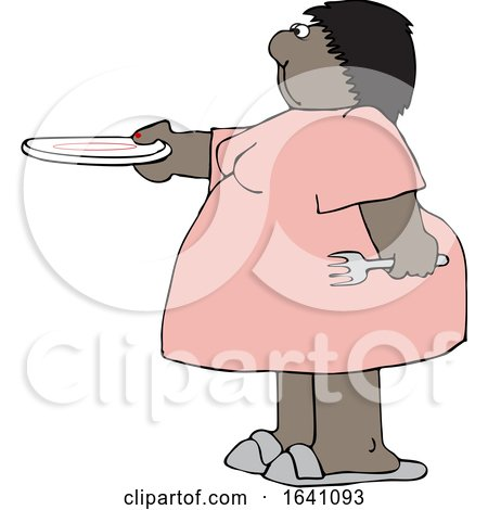 Cartoon Chubby Black Woman Holding out a Plate for Seconds by djart