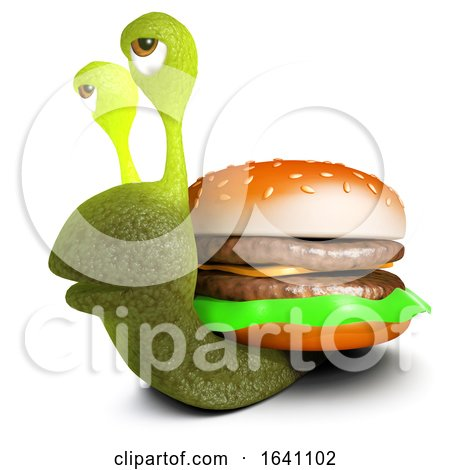 3d Funny Cartoon Snail Character Carrying a Beef Burger by Steve Young