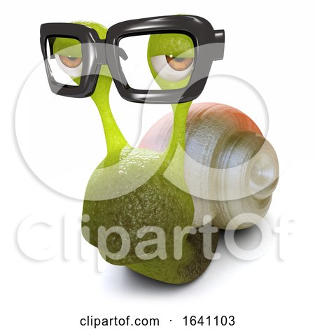 3d Funny Cartoon Snail Wearing Glasses by Steve Young