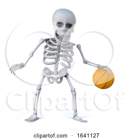 3d Skeleton Dribbles the Ball in a Game of Basketball by Steve Young