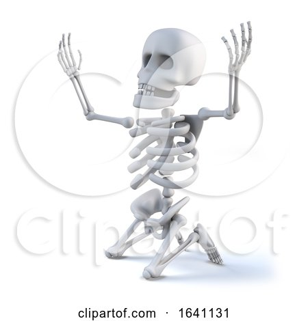 3d Skeleton Kneeling with Arms Raised in Appeal by Steve Young
