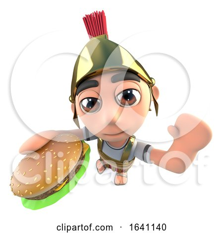 3d Funny Cartoon Roman Soldier Gladiator Eating a Beef Burger by Steve Young