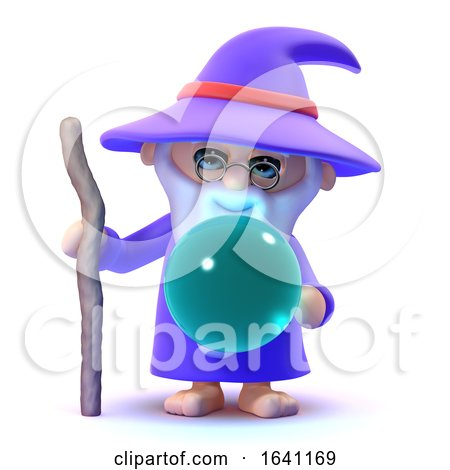 3d Wizard with Crystal Ball Posters, Art Prints