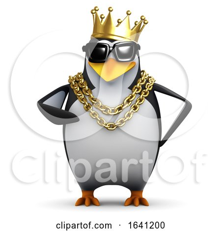 3d Rapper Penguin Wears the Gold Crown by Steve Young