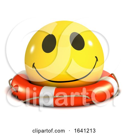 3d Smiley Is Floating in a Lifering by Steve Young