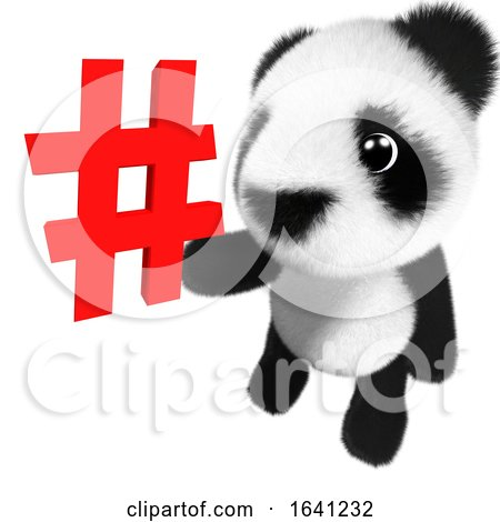 3d Cute and Adorable Baby Panda Bear Character Holding a Hashtag Symbol by Steve Young