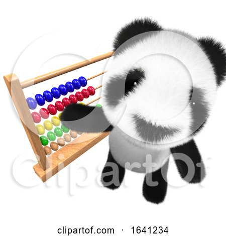 3d Cute and Funny Baby Panda Bear Character Playing with an Abacus by Steve Young