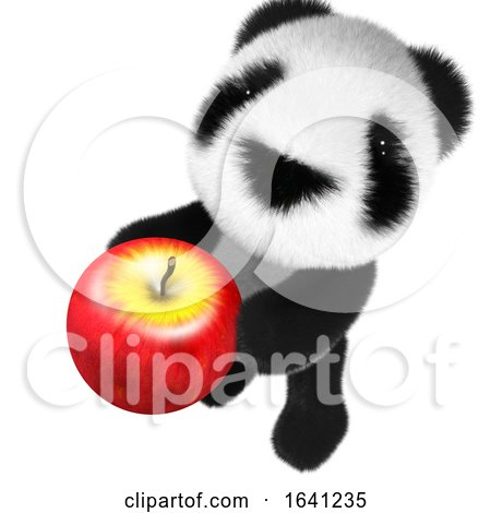 3d Cute and Funny Baby Panda Bear Character Holding an Apple by Steve Young