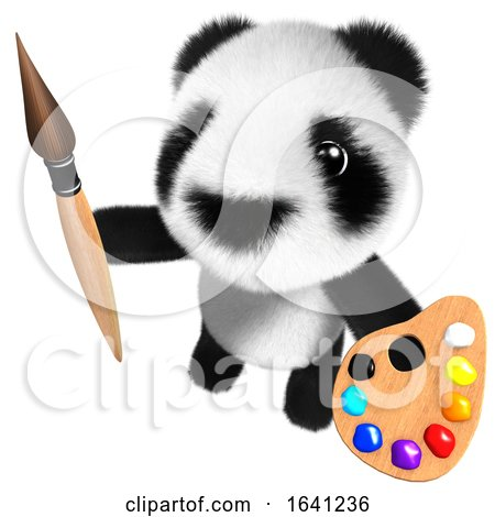 3d Cute and Funny Baby Panda Bear Character Painting with a Brush and Palette by Steve Young