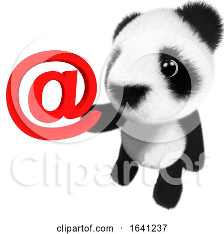 3d Funny Cartoon Baby Panda Bear Character Holding an Email Address Symbol by Steve Young
