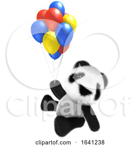 3d Funny Cartoon Baby Panda Bear Character Flying with Some Balloons! by Steve Young