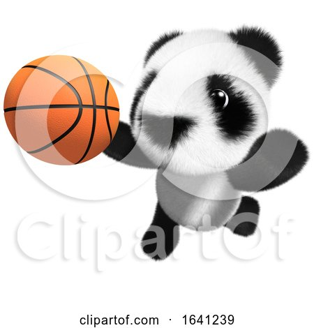 3d Funny Cartoon Baby Panda Bear Character Playing Basketball by Steve Young