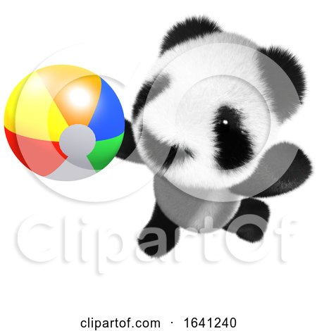 3d Funny Cartoon Baby Panda Bear Character Playing with a Beach Ball by Steve Young