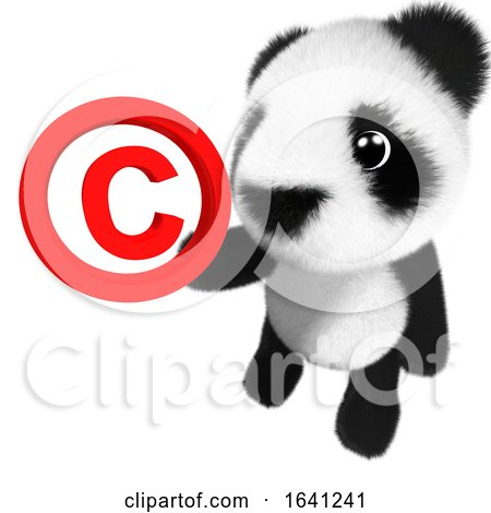 3d Funny Cartoon Baby Panda Bear Character Holding a Copyright Symbol by Steve Young