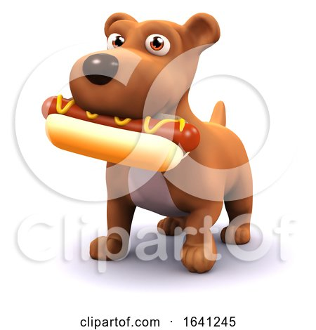 3d Dog with Hot Dog by Steve Young