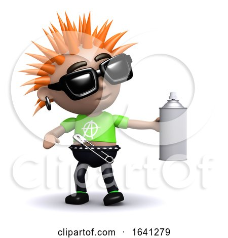 Funny Cartoon 3d Punk Kid with a Spraypain Can by Steve Young