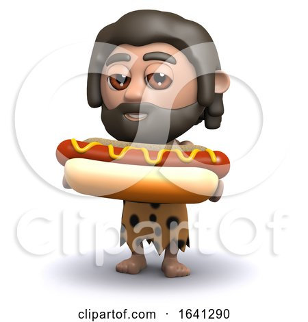 3d Caveman with a Hot Dog by Steve Young