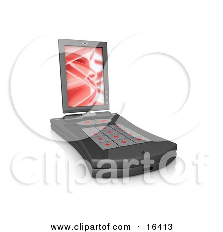 Black Pda Computer With A Small Keyboard And A Red Screen Saver  Posters, Art Prints