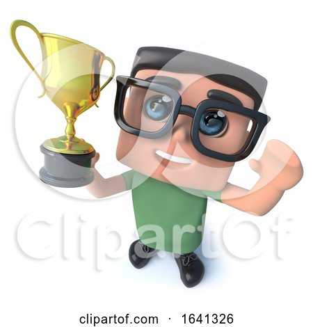 3d Funny Cartoon Computer Nerd Character Holding a Gold Cup Trophy Prize Award in Triumph by Steve Young