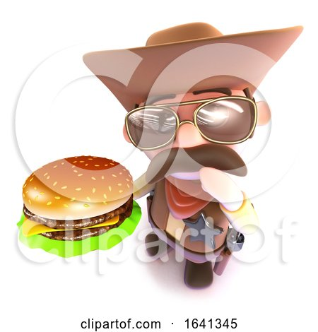 3d Funny Cartoon Cowboy Holding a Cheese Burger by Steve Young