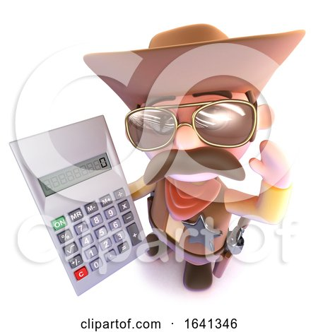 3d Funny Cartoon Cowboy Holding a Digital Calculator by Steve Young
