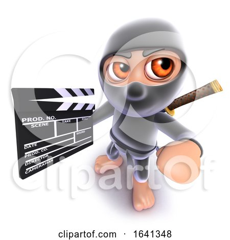 3d Funny Cartoon Ninja Assassin Warrior Character Holding a Movie Makers Clapperboard by Steve Young