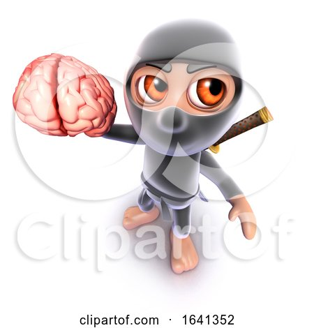 3d Funny Cartoon Ninja Assassin Warrior Holding a Human Brain by Steve Young