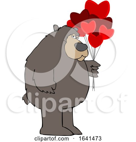 Cartoon Brown Bear Holding Valentine Balloons by djart
