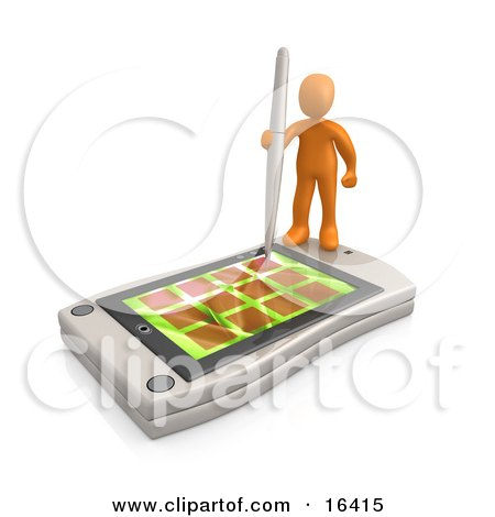 Orange Person Holding A Pen And Scheduling An Appointment On His White Palm Pilot While Standing On It  Posters, Art Prints