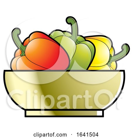 Bowl with Red Green and Yellow Bell Peppers by Lal Perera